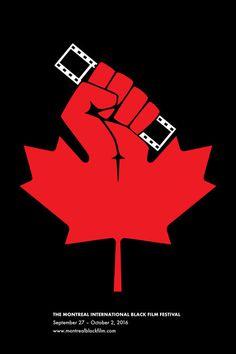 Montreal International Black Film Festival. #Montreal #Film festival #raised fist #film strip #maple leaf #Canada #MIBFF