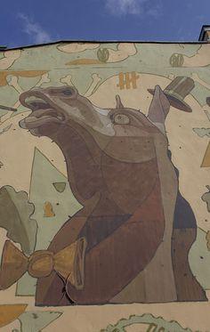 horse, mural, Aryz