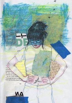 #drawing#sketch #girl#green#blue