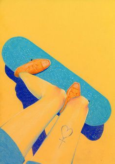 nataliefoss 03 #yellow #color #illustration #blue #pencil