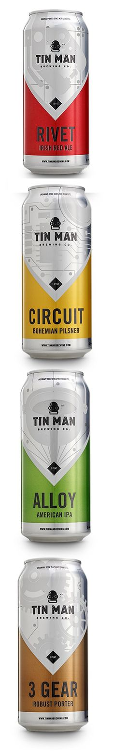 Tin Man Brewing Company\'s beer cans