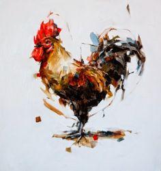 © coeur (thibault JANDOT) #coq #color #bird #paint #painting #coeur #oil