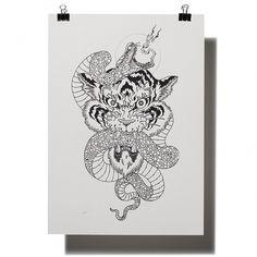 Tiger – black on white | Dangerfork #illustration