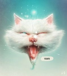 The Odd Collection on the Behance Network #brezak #illustrations #cat #digital #art #lukas #yawning
