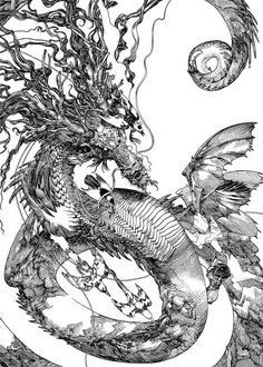 katsuya teradas 02 #dragon #line #white #black #and #drawing