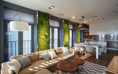 Remarkable Family Apartment Embellished With Luminous Vertical Gardens #garden #apartment #vertical #modern