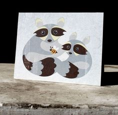 Snail's Pace Father's Day Illustration - Greeting Card #raccoon #graphic #pace #snais #stationery #paper