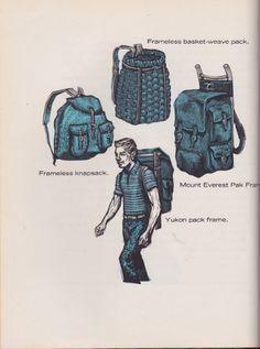 SO SWEATY #habbas #60s #print #backpack #hiking #illustration #frank #e #1965