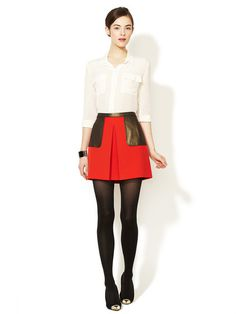 Tracy Reese Inverted Pleat Combo Skirt #skirt #fasion #red