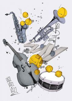 Philipp Zurmöhle - Illustration & Graphic Design #trumpet #saxophone #jazz #illustration #instruments #drawing #instrument