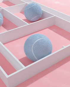Tennis, from molistudio #surreal #minimalism #pastel #3D #graphic #sport