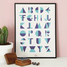 #nordic #design #graphic #illustration #danish #letters #simple #nordicliving #living #interior #kids #room #poster #alphabet #flip #blue
