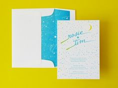Constellation Letterpress Engagement Party Invitations | Oh So Beautiful Paper