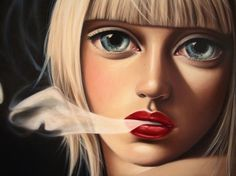 Oil Paintings by Sas Christian | Best Bookmarks #face #smoke #painting #oil