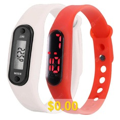 Silicone #Pedometer #Watch #Korean #Sports #Xiaomi #LED #Electronic #Watch #Gift #- #RED