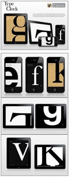 Cutt & Pastte #type #iphone #app #clock #typography