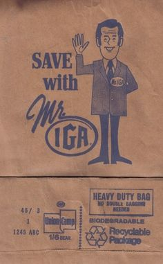 All sizes | Save with Mr IGA grocery bag - 1970s | Flickr - Photo Sharing! #logo #illustration #retro #vintage