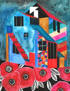 house meganprycedesigns.com #print #design #illustration #house #painting #watercolor #flowers #stars