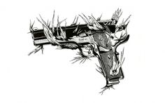 XLVIII — MEDIUM: EXTRA LARGE #creepy #white #gun #black #smithwesson #illustration #nature