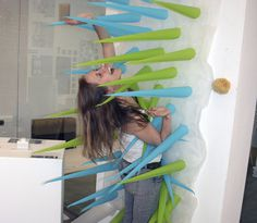 Spiky Shower Curtain - a colourful, creative shower curtain that will kick you out of your shower to reduce water consumption. #design #prod