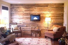 DIY Scrap Wood Pallet Wall Mom and Her Drill | Apartment Therapy Chicago #pallet #wood #wall