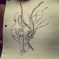 Rosary #ink #white #black #pen #flash