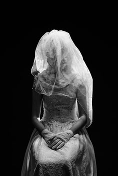 Woman in a Wedding Dress with Veil, (2014). #white #woman #black #bride #photography #art #and #wedding