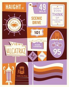 Lab Partners » Show at Super7 this Friday #illustration #grid #texture #bird #orange #bike #flag #bridge #violet