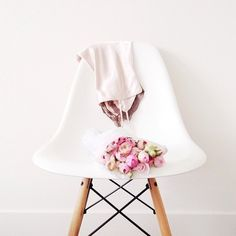 Likes   Tumblr #white #pink #chair #flowers