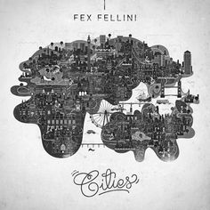 Cities.jpg (JPEG Image, 500x500 pixels) #vesa #grayscale #fex #cities #fellini #illustration #type #sammalisto #typography