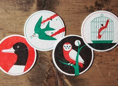 Ornithology - #ryan #owl #todd #vectors #print #letterpress #duck #birds #cage