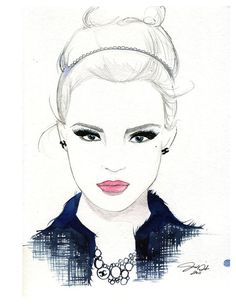 Watercolor and Pen Fashion Illustration She Wore Chanel print
