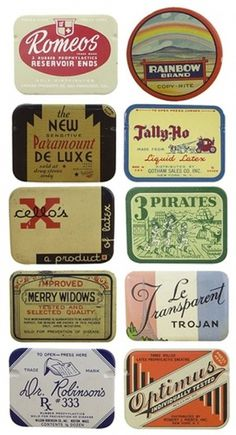 Typography / vintage condom packaging. yeah you read that right. #packaging