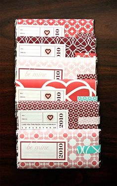 Making Valentines #packaging #chocolate #label #pattern #wrapping