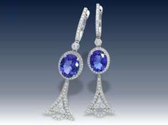 Ohrringe: neuwertige und ungetragene exklusive Tansanit/Brillantohrringe in Spitzenqualität, aus Juweliersauflösung