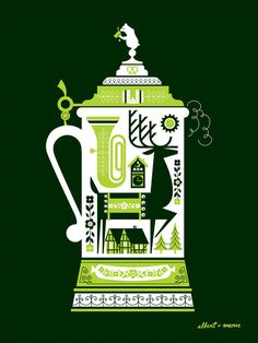 DeerStein Screen Print Poster 18 x 24 #illustration #folk #art #german
