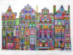 Cadogan Square by Nadja Christin #drawing #illustration #London #CadoganSquare #colour #colorful #colour #colourful #architecture #facade