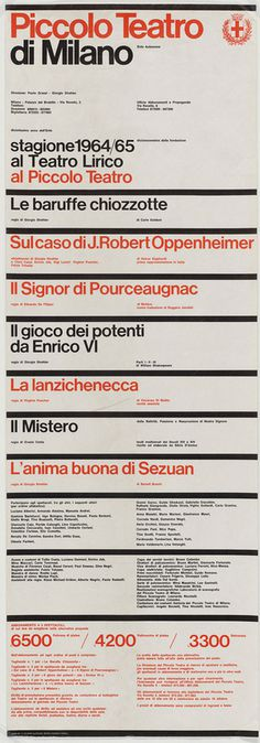 Poster and graphic programme for Milan's Piccolo Teatro, 1964 and 1965 – illustrating the powerful philosophical connection between Zuri #massimo #vignelli #poster
