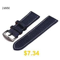 24mm #Leather #Strap #Watch #Band #- #WHITE