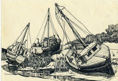 1-Boat-of-Rock-Harbour-Cap-Cod-.png 556×386 pixels #ink #drawing #pen #landscape
