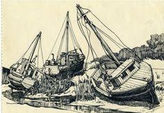 1-Boat-of-Rock-Harbour-Cap-Cod-.png 556×386 pixels #landscape #drawing #ink #pen