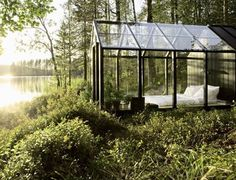 Glasshouse #glass #forest #lake #architecture