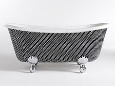 Mosaic art on bathtub in black white #artistic #bathroom #furniture #art #bathtub