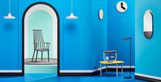 interior design blue minimal mindsparkle mag danish scandinavian designer sweden beauty beautiful product mirror clock chair room chambre