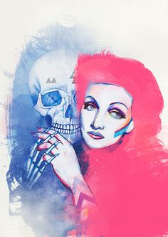 Illustrations by Cristina Polop (4) #girl #pink #color #drawing #illustration #blue #skull #pencil