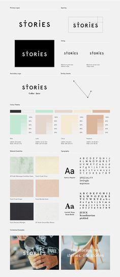 Stories Branding - Identity Design - Logotype, Logo, Scandinavian Typography, Dots, Connect the dots, Links, Story, Cool pastel tones, Green, Orange, Yellow, Black, Clean, Modern