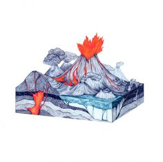 Life is a magic on the Behance Network #ink #diagram #cross #illustration #eruption #volcano #section