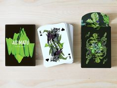 AO MATU design playing cards by Nastya KFKS. Floral and tropical design with great characters. #tropical #cards #graphic #playing #design #nastyakfks #illustration #characters
