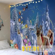 Sending #Gifts #Santa #Claus #Pattern #Wall #Decor #Tapestry #- #LIGHT #BLUE