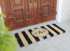 "Warrick Stripe Monogrammed Coir Double DoorMat - Durable and beautiful, this mat keeps shoes clean to protect your floors from mud, dirt and grime. Product Dimensions is - 24"" x 57"" x 1.5"". Visit our store for the detailed information @ goo.gl/VV8FzV"